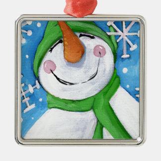 Ornement Carré Argenté Givré le bonhomme de neige heureux