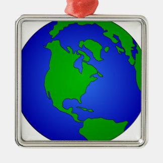 Ornement Carré Argenté Globe de la terre