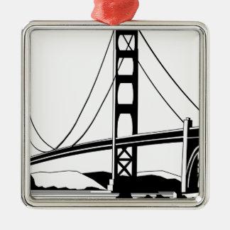Ornement Carré Argenté Golden Gate San Francisco