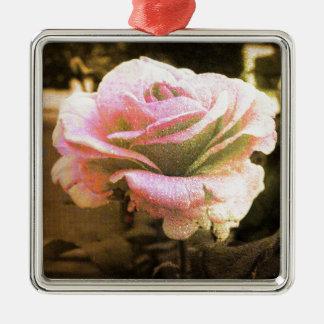 Ornement Carré Argenté Golden rose