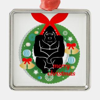 Ornement Carré Argenté gorille de Joyeux Noël