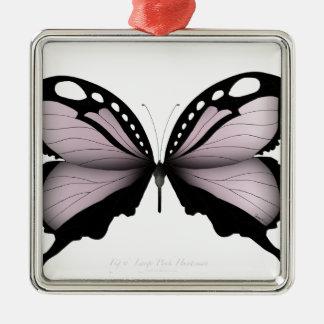 Ornement Carré Argenté Grand chasseur rose de papillon rose
