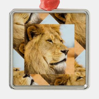 Ornement Carré Argenté Grand lion regardant loin