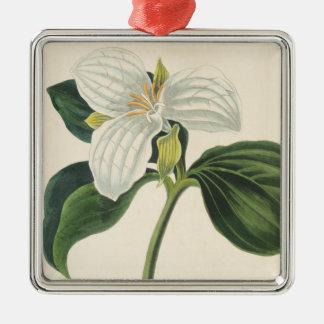 Ornement Carré Argenté Grand Trillium fleuri