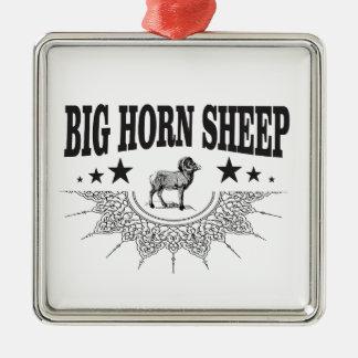 Ornement Carré Argenté grands moutons à cornes de chasse