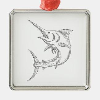 Ornement Carré Argenté Griffonnage atlantique de Marlin bleu