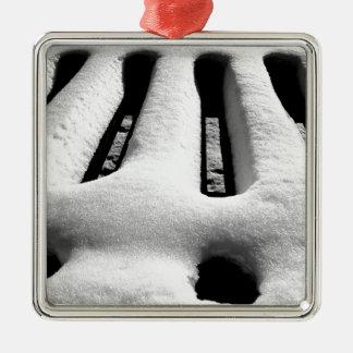 Ornement Carré Argenté Grille de neige