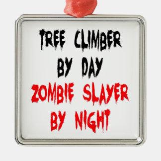 Ornement Carré Argenté Grimpeur d'arbre de tueur de zombi