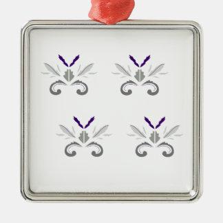 Ornement Carré Argenté Gris blanc d'ornements de luxe