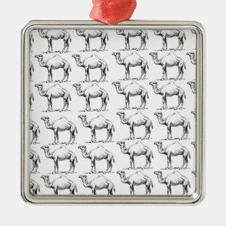 Ornement Carré Argenté groupe de troupeau de chameaux
