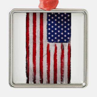 Ornement Carré Argenté Grunge de drapeau des Etats-Unis