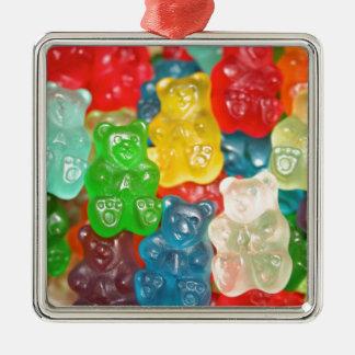 Ornement Carré Argenté gummybears, sucrerie, colorée, amusement, enfants,