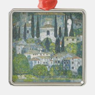 Ornement Carré Argenté Gustav Klimt - église dans l'oeuvre d'art de