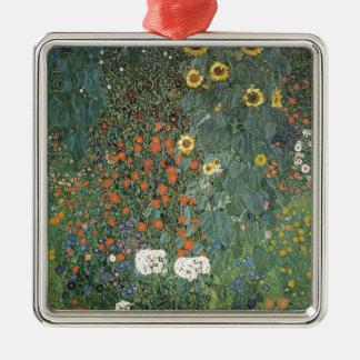 Ornement Carré Argenté Gustav Klimt - fleurs de tournesols de jardin de