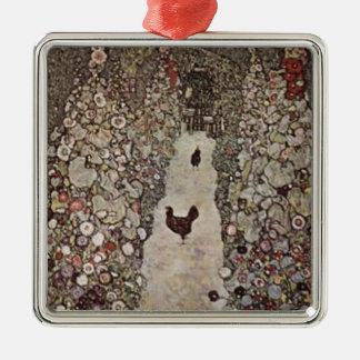 Ornement Carré Argenté Gustav Klimt - jardin avec des coqs