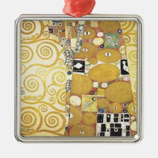 Ornement Carré Argenté Gustav Klimt - l'étreinte - illustration classique