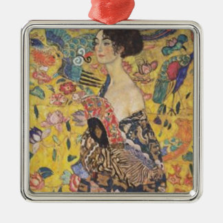 Ornement Carré Argenté Gustav Klimt - Madame With Fan Painting
