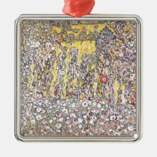 Ornement Carré Argenté Gustav Klimt - paysage horticole avec le sommet