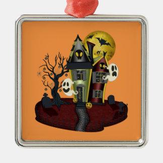 Ornement Carré Argenté Halloween a hanté la maison