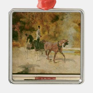 Ornement Carré Argenté Henri De Toulouse-Lautrec | un dog-cart