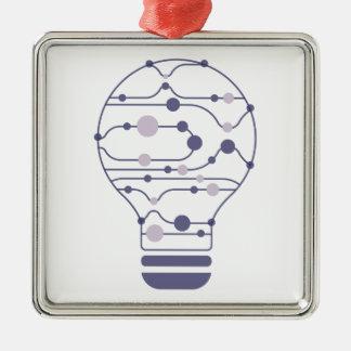 Ornement Carré Argenté Hexahedrons à l'intérieur d'ampoule d'idée