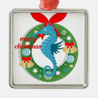 Ornement Carré Argenté hippocampe de Joyeux Noël
