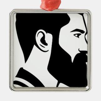Ornement Carré Argenté Homme barbu