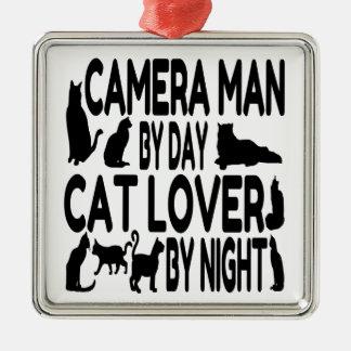 Ornement Carré Argenté Homme d'appareil-photo d'amoureux des chats