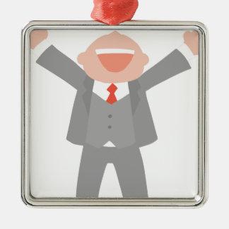 Ornement Carré Argenté Homme enthousiaste d'affaires