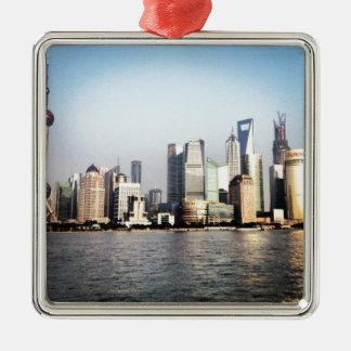 Ornement Carré Argenté Horizon de Changhaï Chine