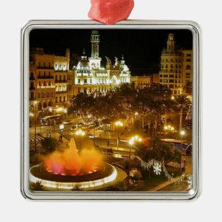 Ornement Carré Argenté Horizon de nuit de Madrid