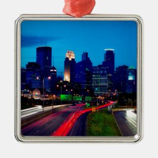 Ornement Carré Argenté Horizon de nuit de Minneapolis