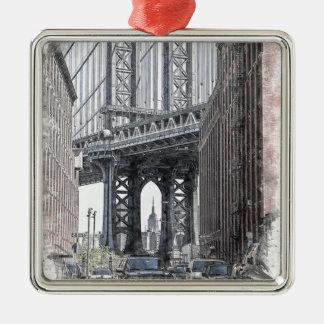 Ornement Carré Argenté Horizon de pont des Etats-Unis New York Manhattan