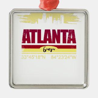 Ornement Carré Argenté Horizon grunge d'Atlanta la Géorgie