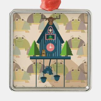 Ornement Carré Argenté Horloge de coucou avec le papier peint de tortue