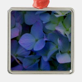 Ornement Carré Argenté Hortensias pourpres violets