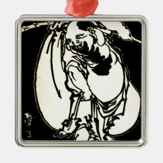 Ornement Carré Argenté Hotei par Katsushika, Hokusai Ukiyo-e