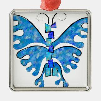 Ornement Carré Argenté Icelonius - papillon bleu de glace