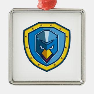 Ornement Carré Argenté Icône bleue de bouclier de Mohawk de poulet