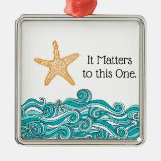 Ornement Carré Argenté Il importe à cette une étoile de mer