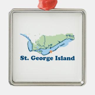 Ornement Carré Argenté Île de St George