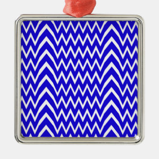Ornement Carré Argenté Illusion bleue de Chevron