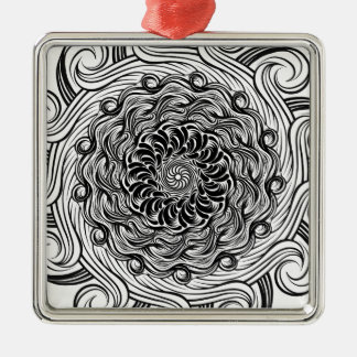 Ornement Carré Argenté Illusion optique de griffonnage fleuri de zen