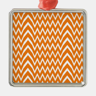 Ornement Carré Argenté Illusion orange de Chevron