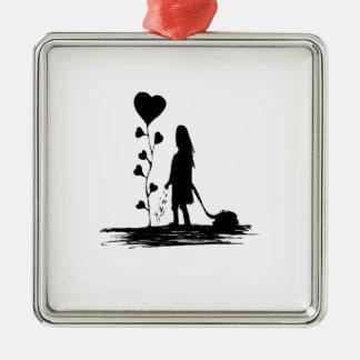 Ornement Carré Argenté Illustration de concept d'amour d'encemencement