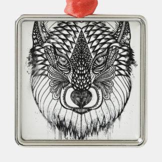 Ornement Carré Argenté Illustration de mandala de loup