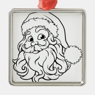 Ornement Carré Argenté Illustration de Noël du père noël