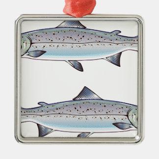 Ornement Carré Argenté Illustration de poissons d'océan de saumon