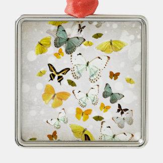 Ornement Carré Argenté Illustration des papillons
