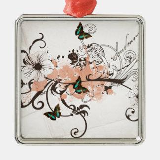 Ornement Carré Argenté Illustration des papillons et des motifs sales